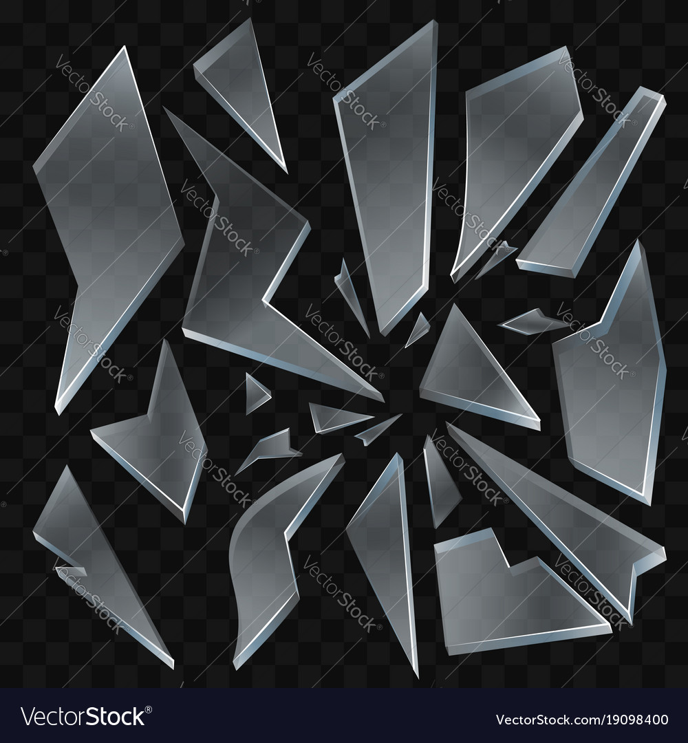 broken glass shards modern realistic royalty free vector