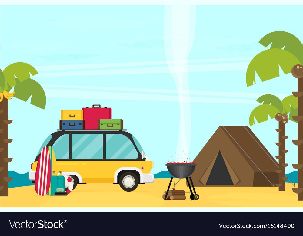 Caravan trailer camping in flat style