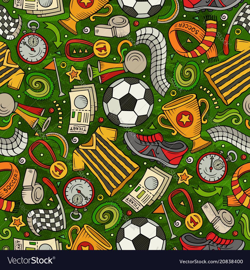 Cartoon hand-drawn soccer seamless pattern