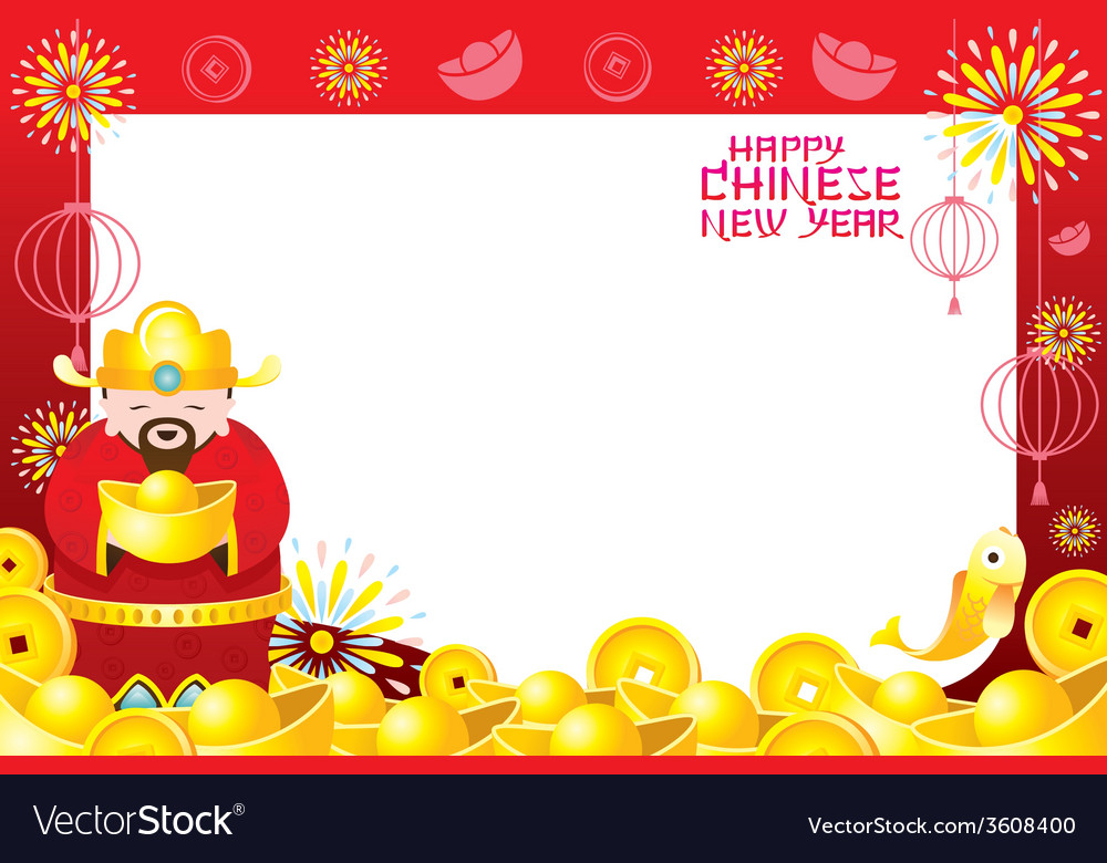 Chinese New Year Frame with Chinese God Royalty Free Vector