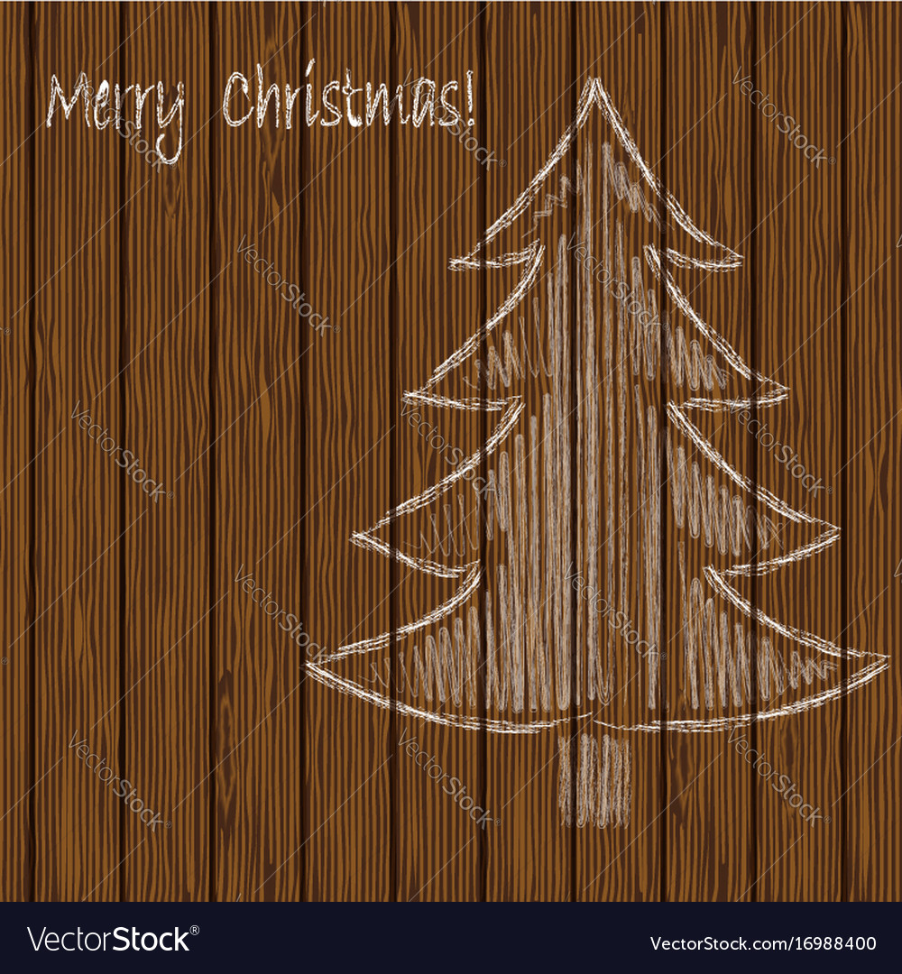 Christmas tree drawing chalk on a background of