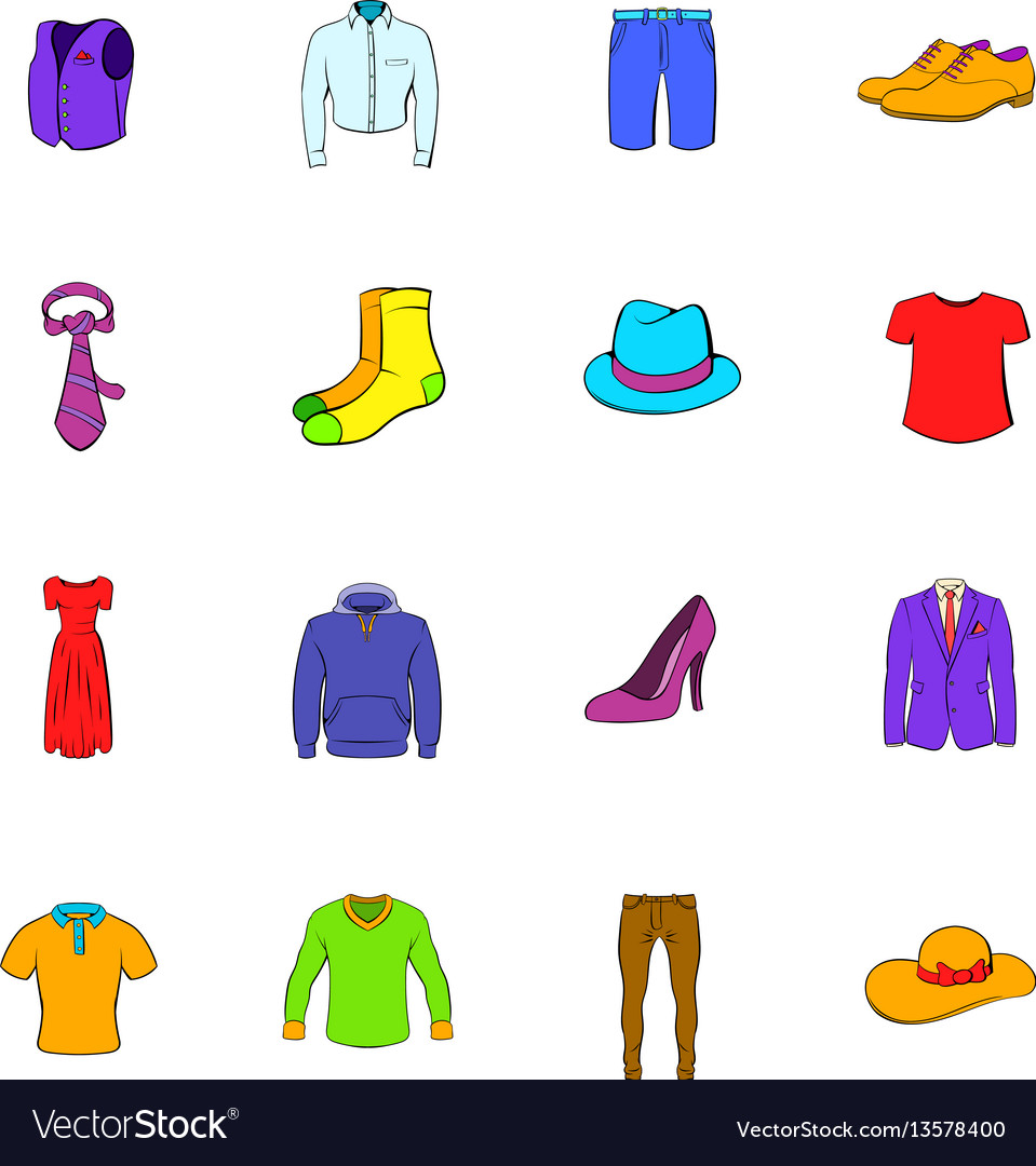 Clothes icons set cartoon