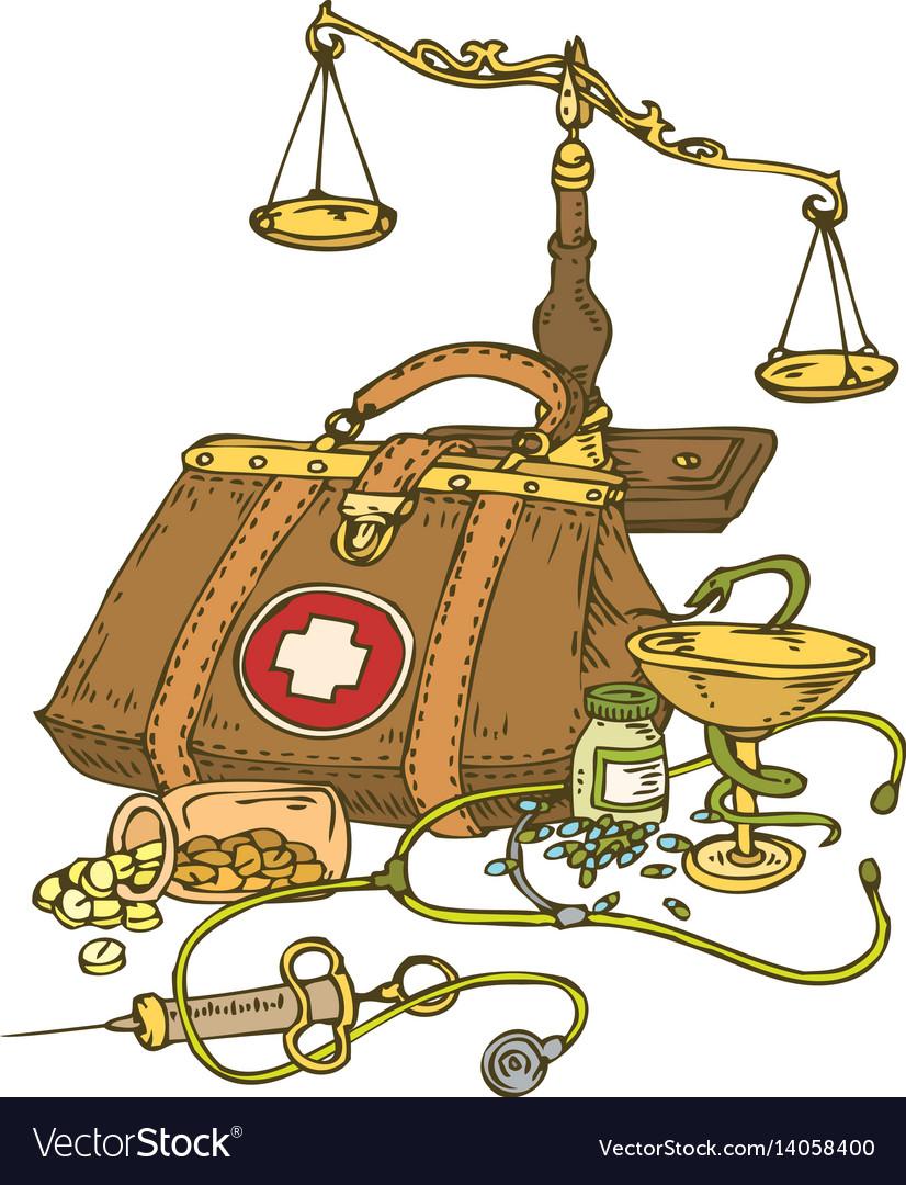 Composition with medicine symbols