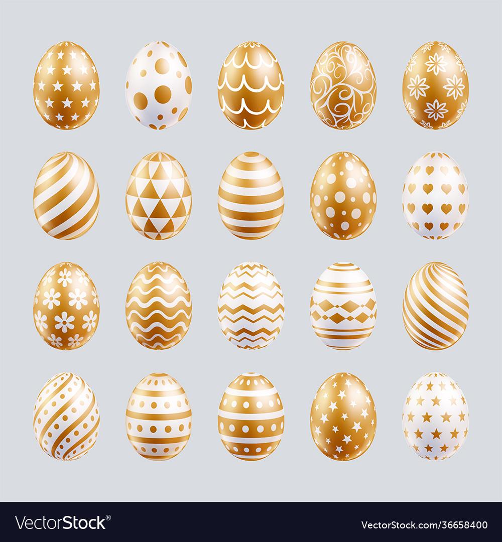 Easter eggs set gold color patterns