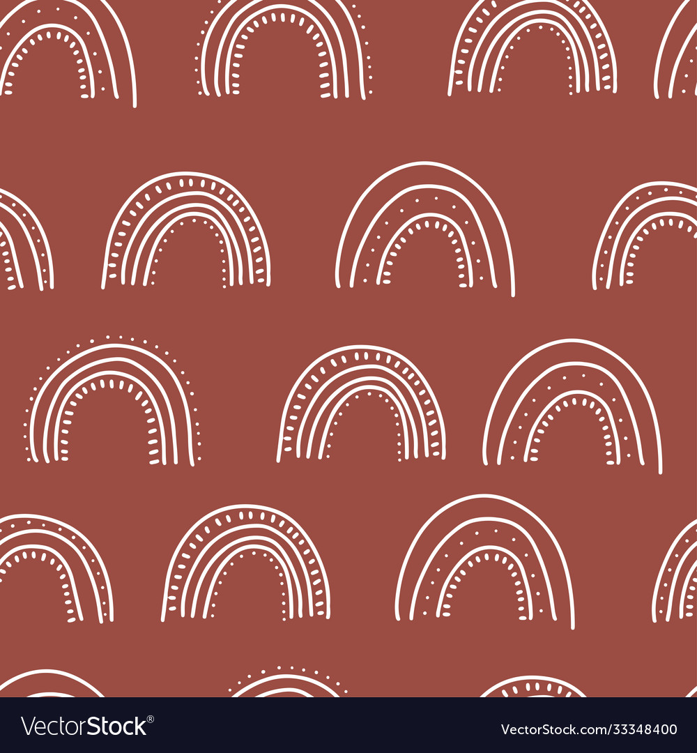 Fall themed doodle seamless pattern linear hand