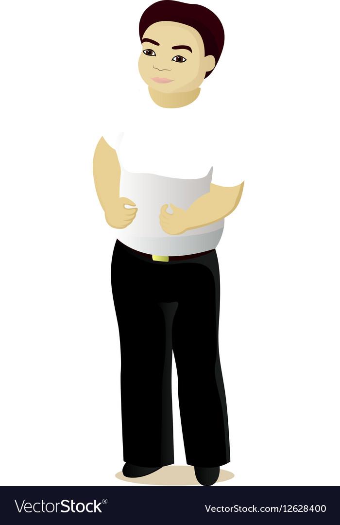Fat man happy vector image