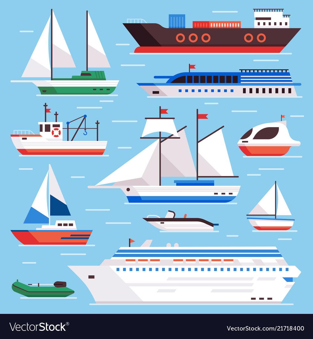Flat sea ships marine shipping sailing boat