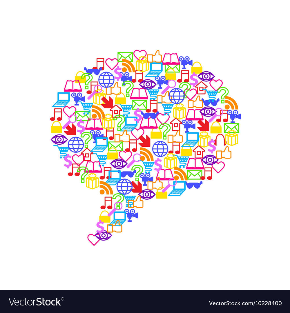 Flat social media icons in speech bubble form vector image