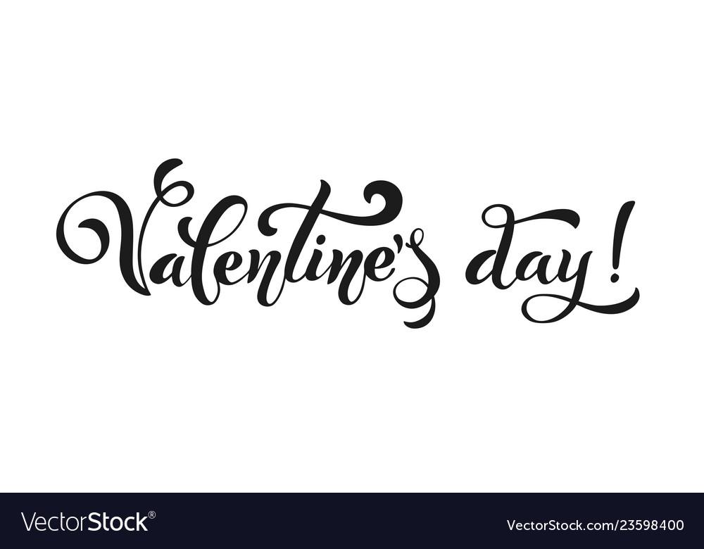 Happy valentines day retro vintage style brush