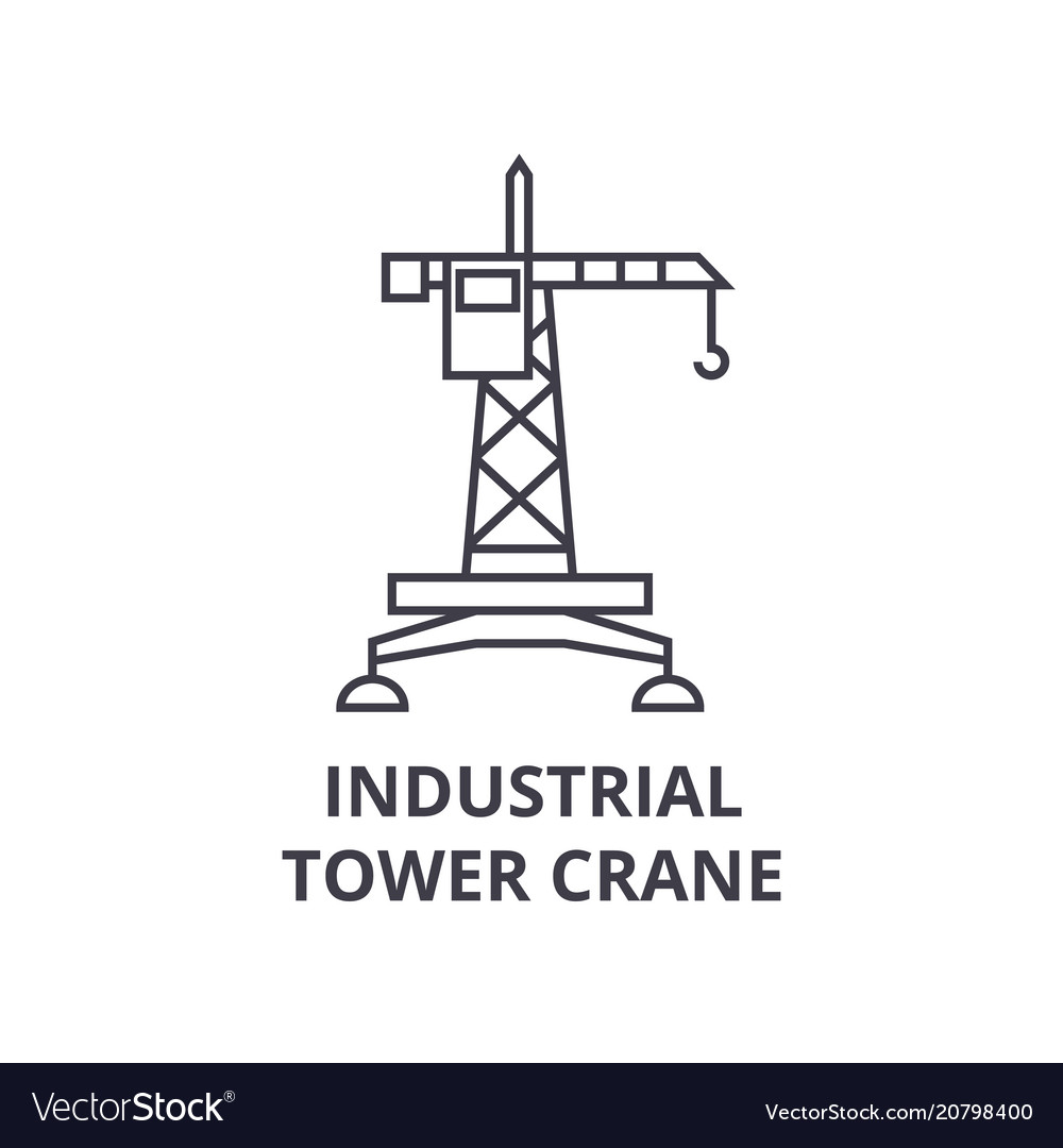 Industrial tower crane line icon sign