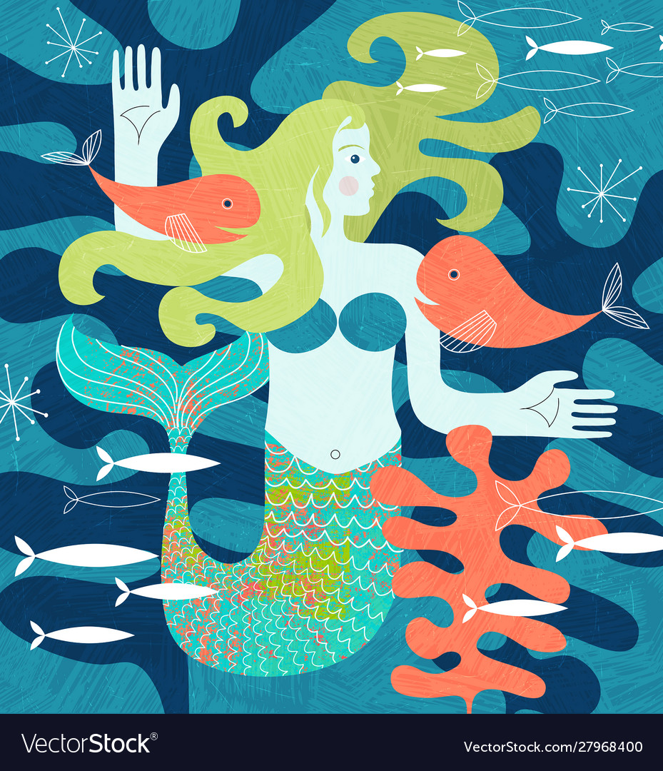 Mermaid with fish friends matisse inspired