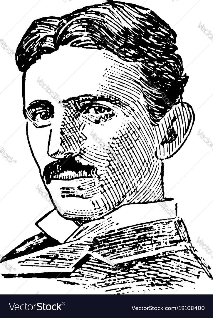 Nikola Tesla Vintage Royalty Free Vector Image