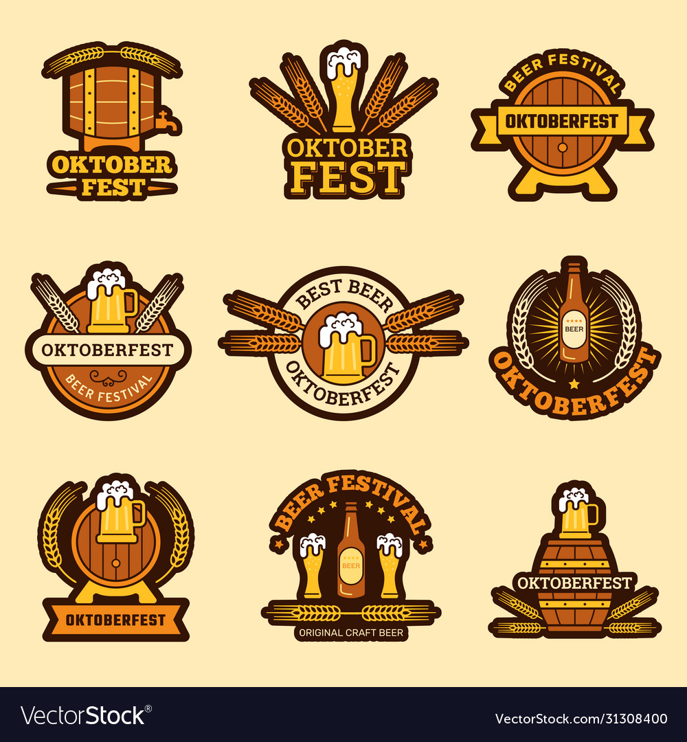 Oktoberfest badges alcoholic drinks craft beer