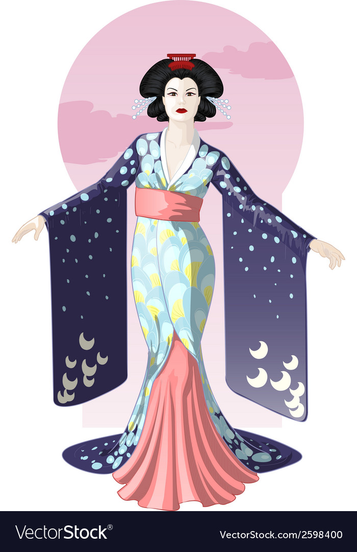 Retro character attractive japanese actress geisha vector image