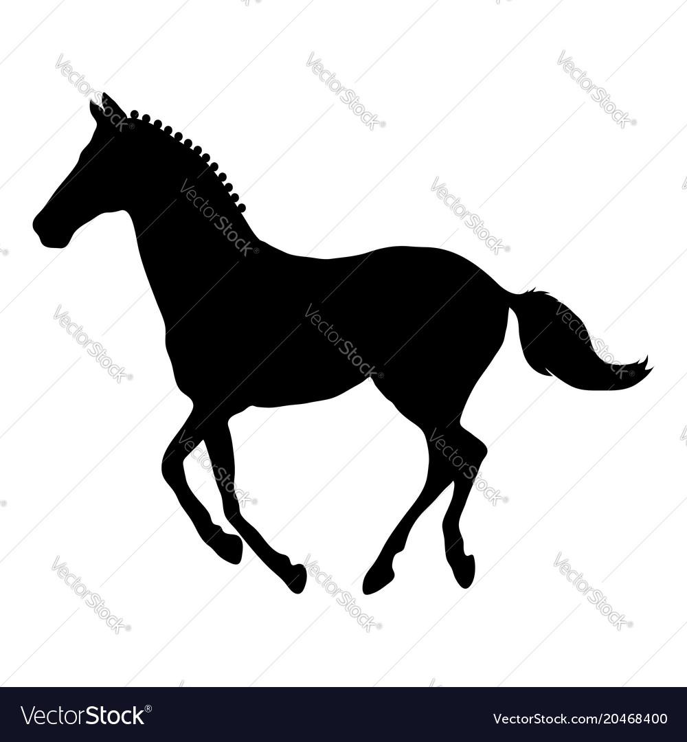 Running horse black silhouette