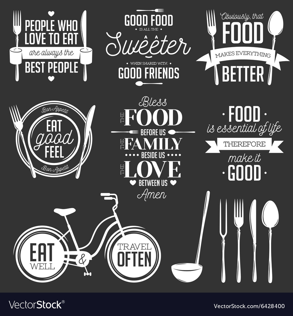 photo regarding Bless the Food Before Us Printable titled Established of classic food items very similar typographic rates