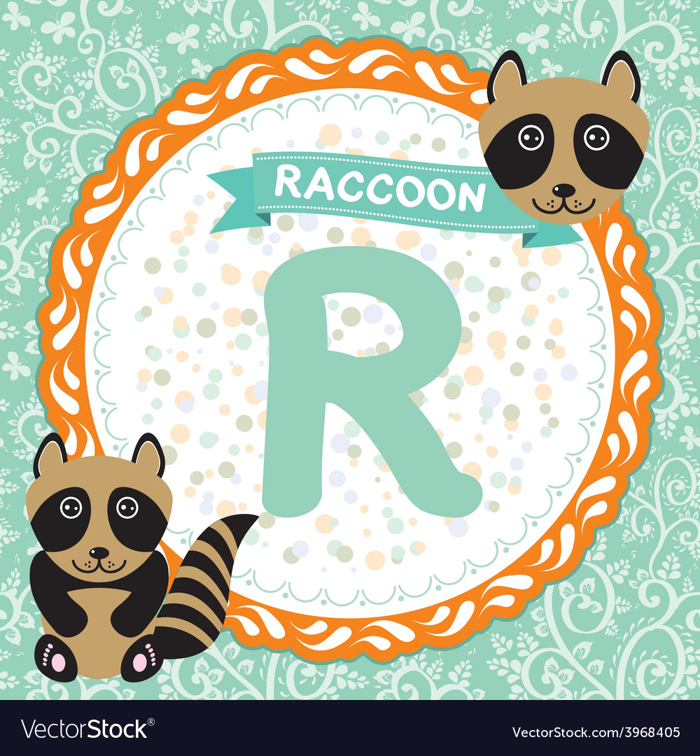 ABC animals R is raccoon Childrens english