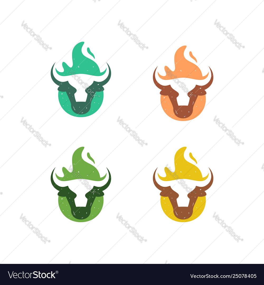 Abstract cow fire concept design template