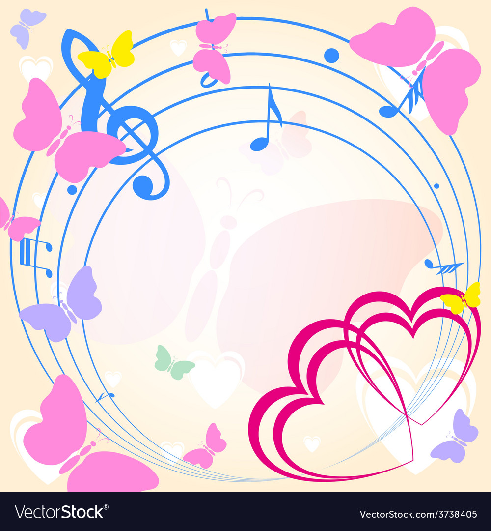 Background with heart and music
