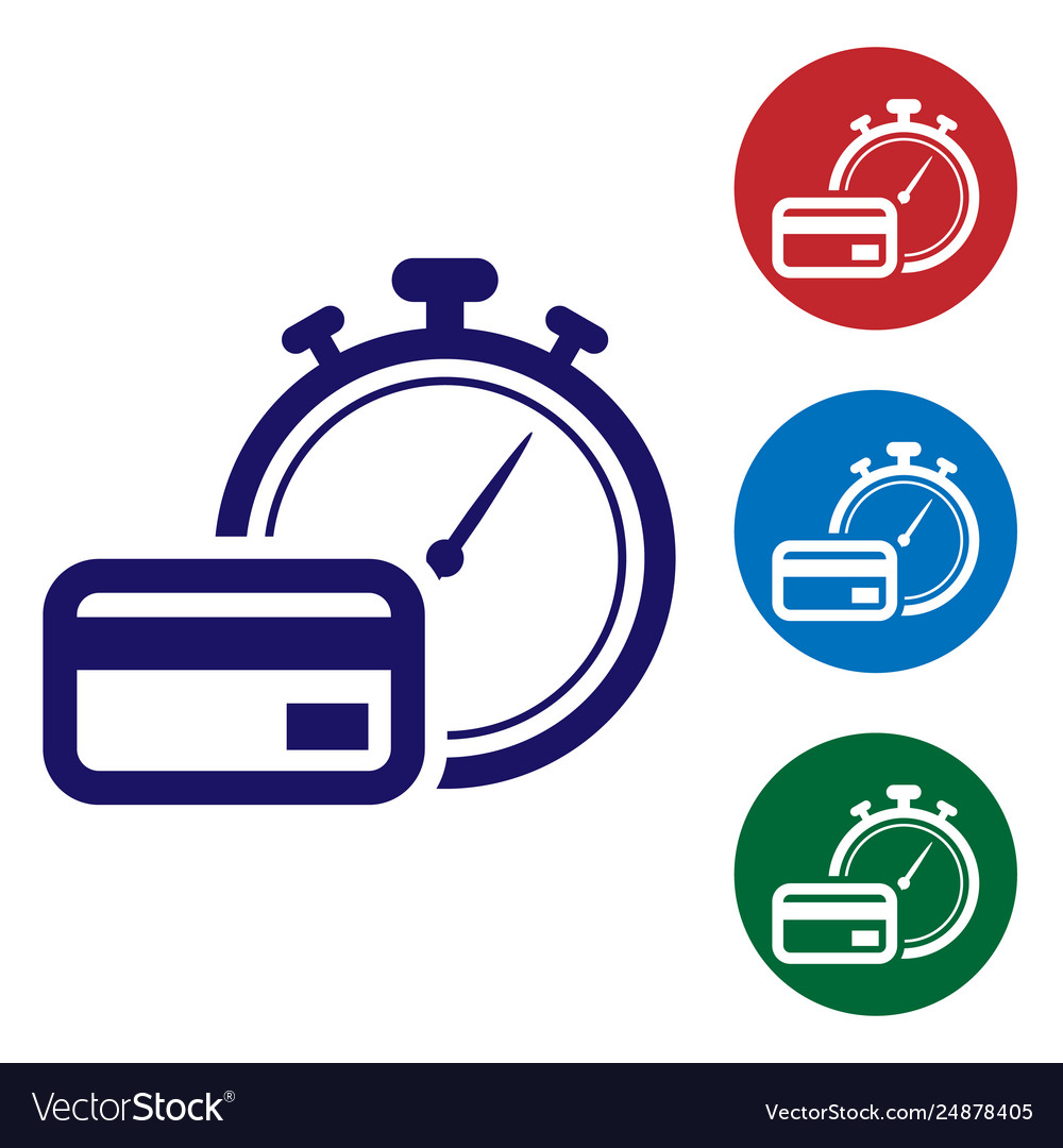Blue fast payments icon on white background fast