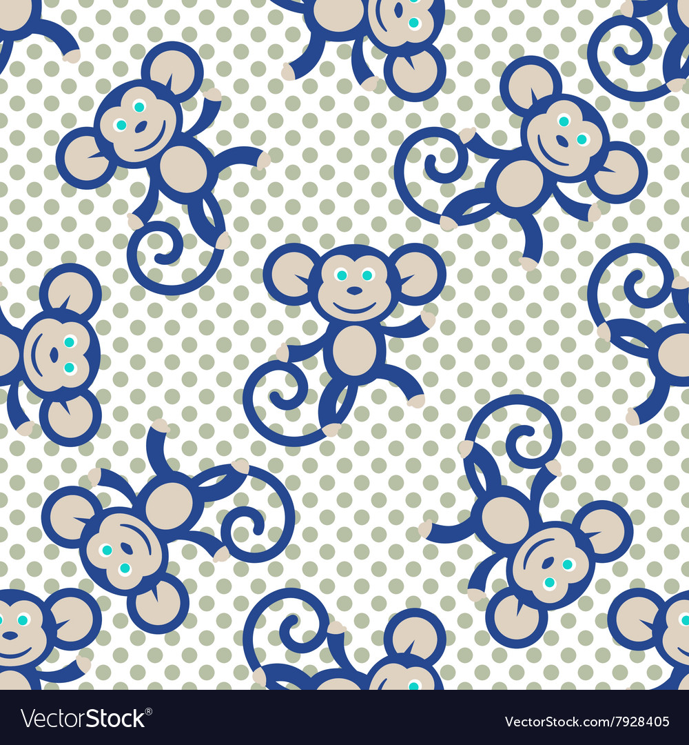 Blue monkey kid seamless pattern for