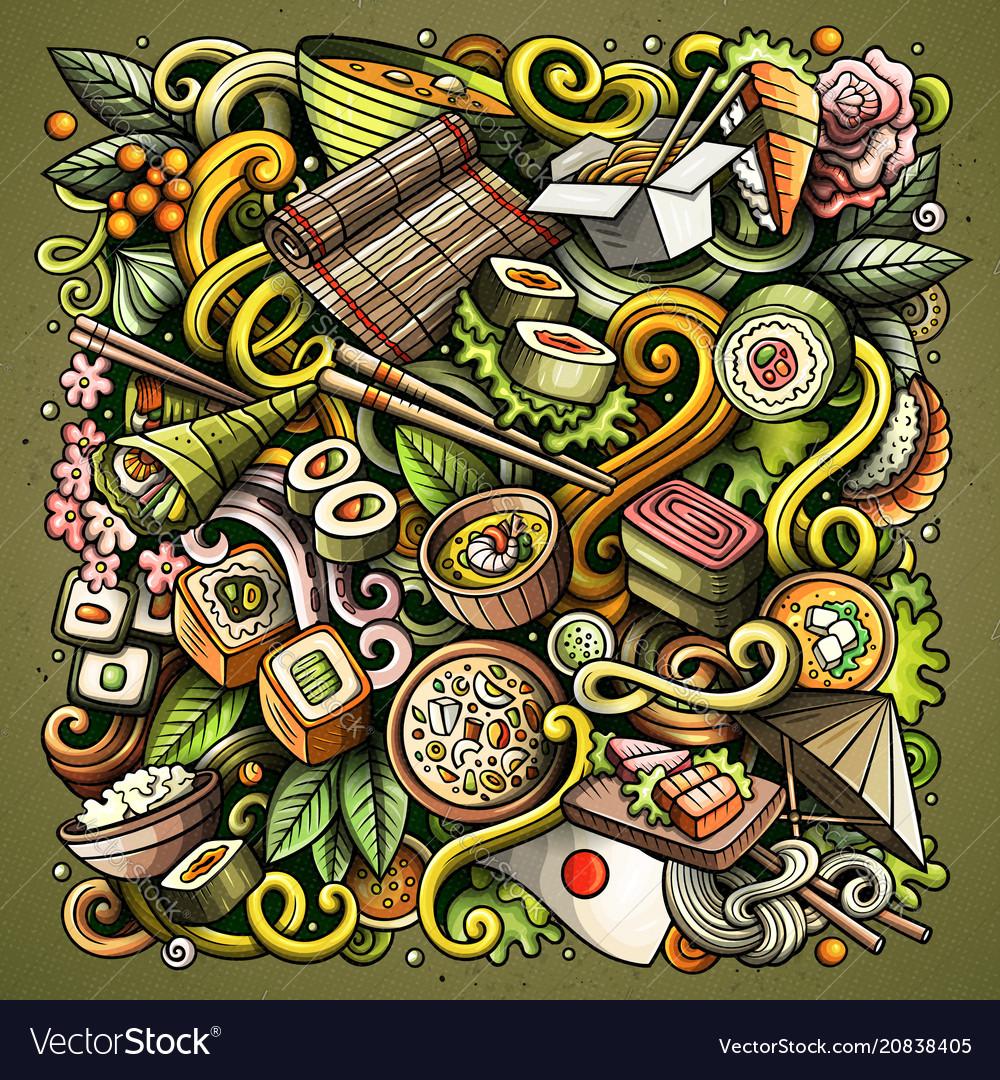 Cartoon doodles japan food