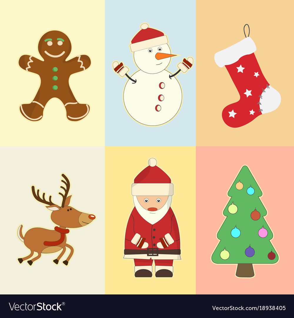 Christmas and new year attributes and symbols
