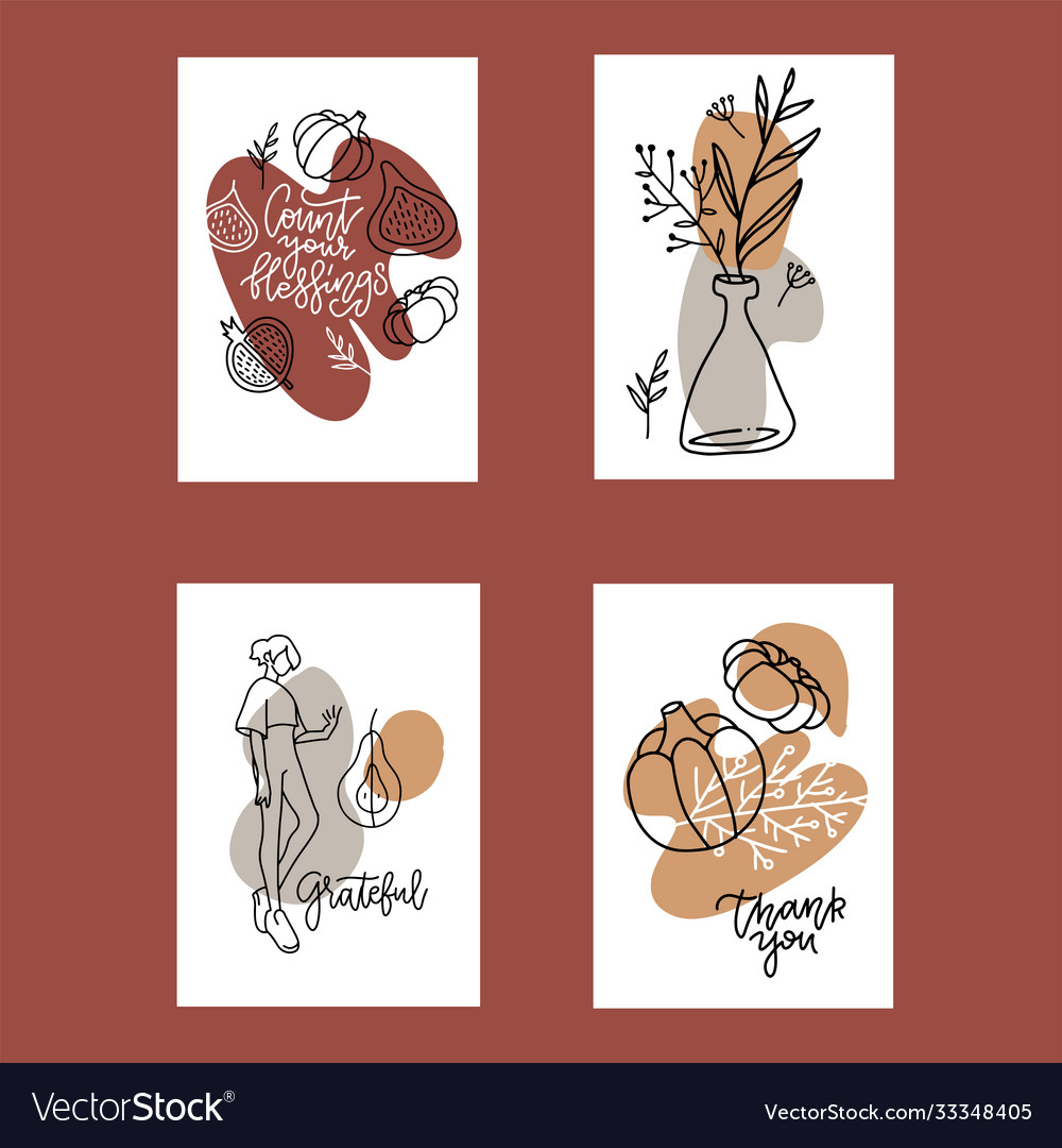 Collection 4 autumn poster templates greeting