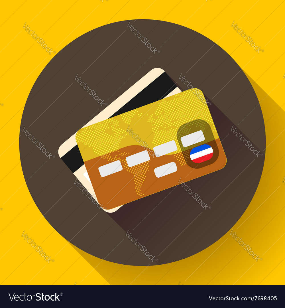 Golden VIP Credit Card icon with long shadow Flat