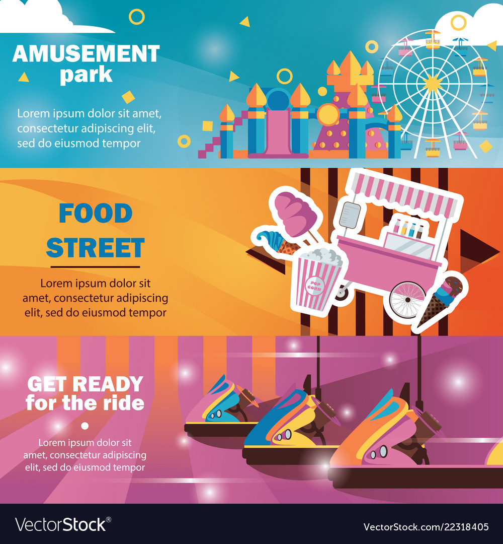 Horizontal banners for amusement park with