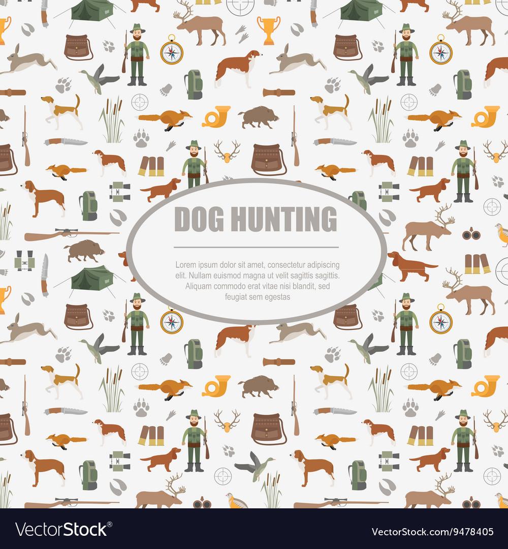 Hunting pattern Dog hunting equipment Flat style