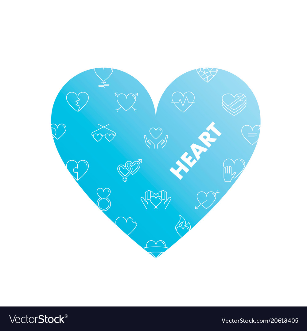 Line icons in heart shape heart