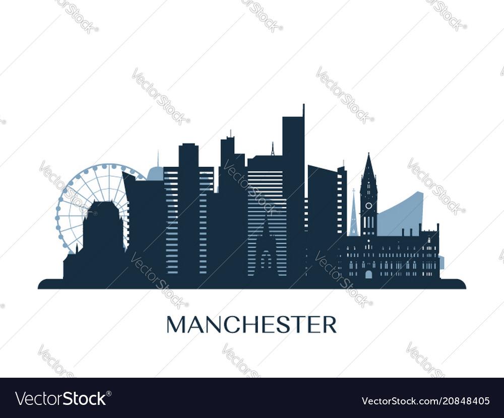 Manchester skyline monochrome silhouette