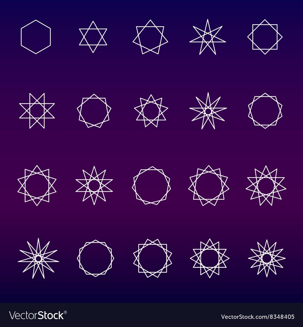 Polygons and polygrams sacred geometry set