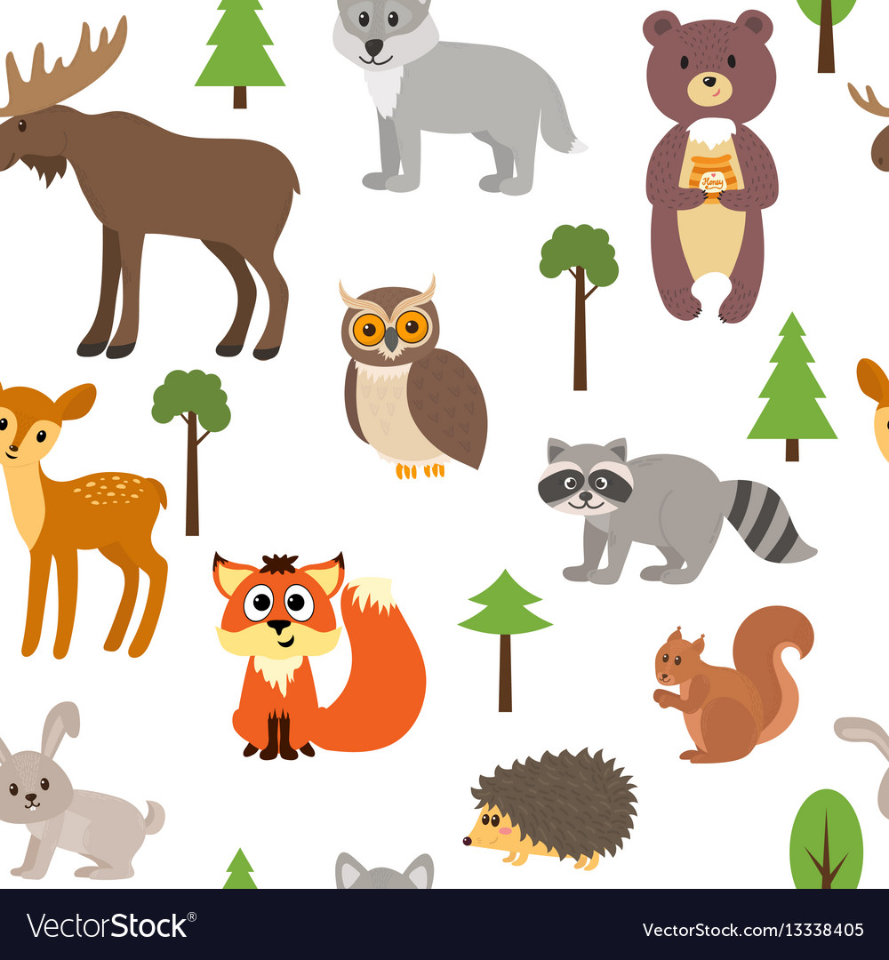 Seamless pattern with cute forest animals and