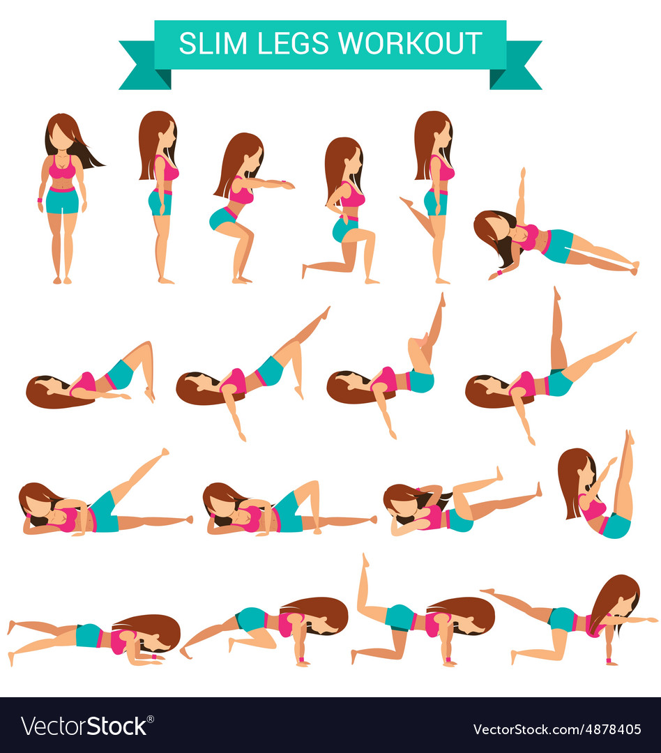 Printable Cardio Workouts: Set Of Cardio Exercise For Slim Legs Workout Vector Image