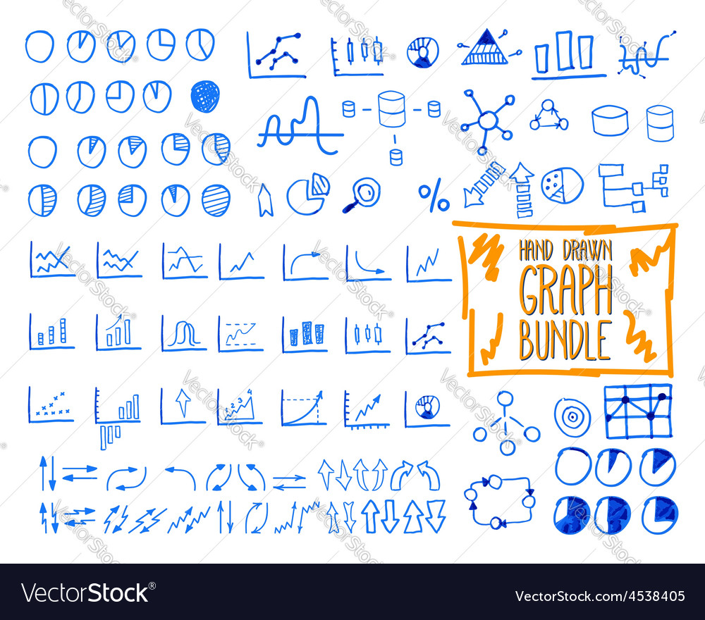 Set of outline doodle sketched hand drawn vector image