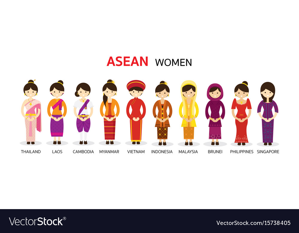 Southeast asia women in traditional clothing