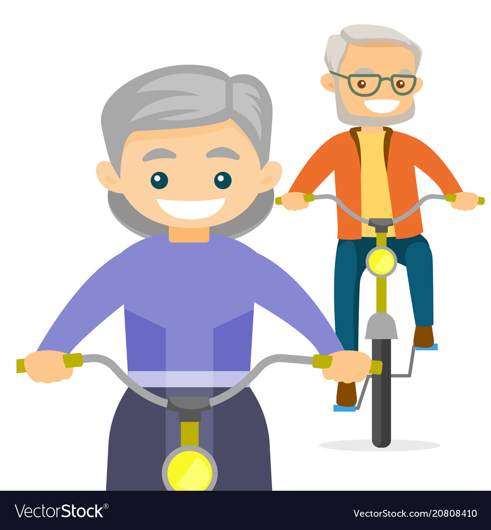 An old couple riding bikes
