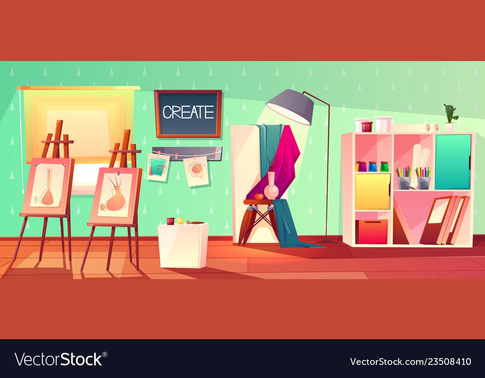 Art studio interior creative workshop room