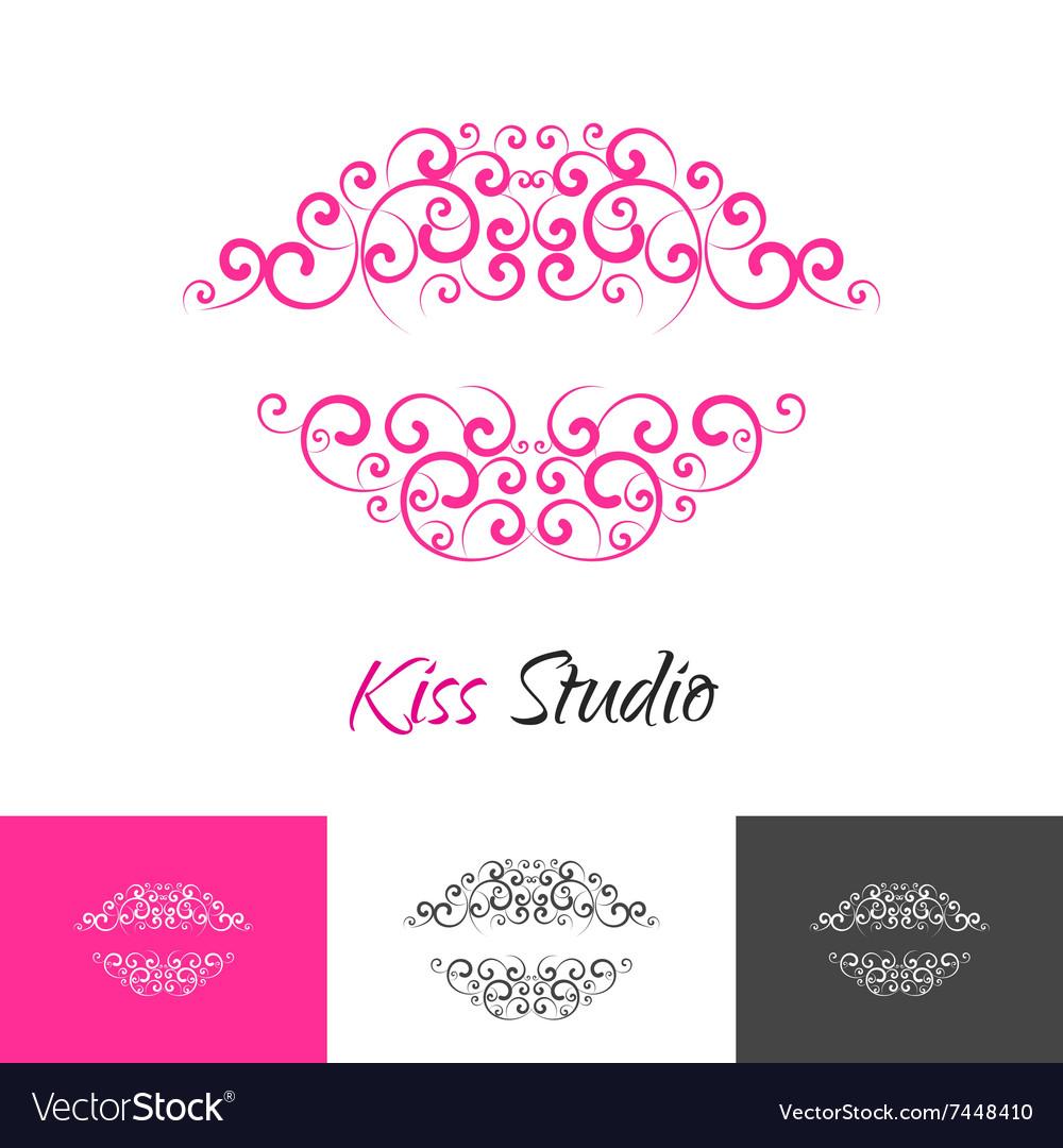 beauty salon kiss lips logo concept royalty free vector
