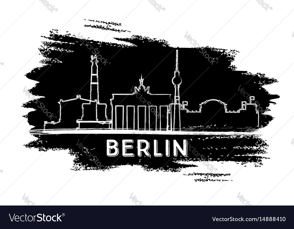 Berlin skyline silhouette hand drawn sketch