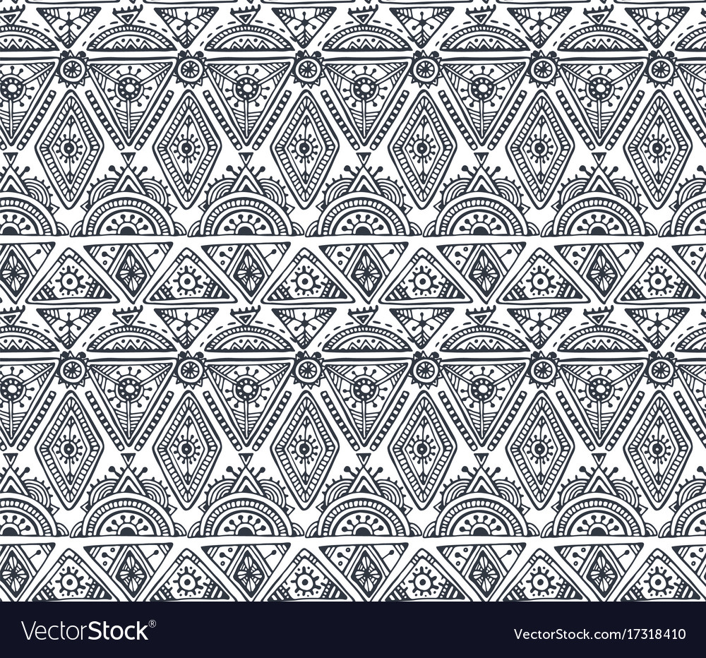 Black and white ethnic seamless pattern with hand