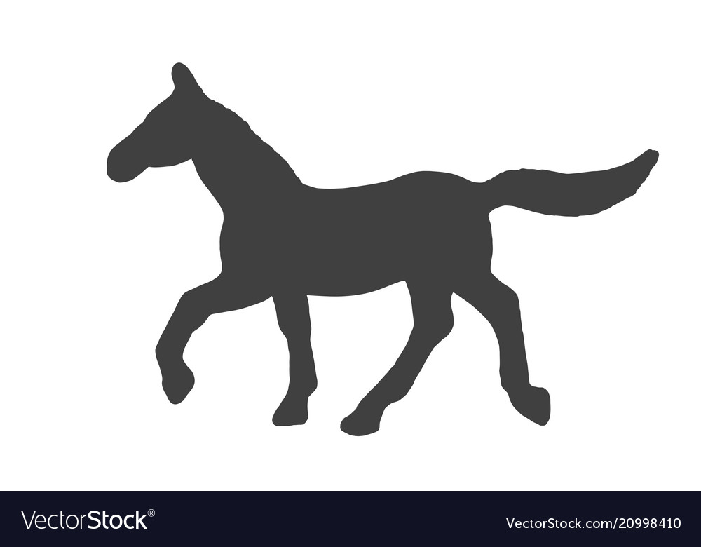 Black silhouette of horse isolated on white