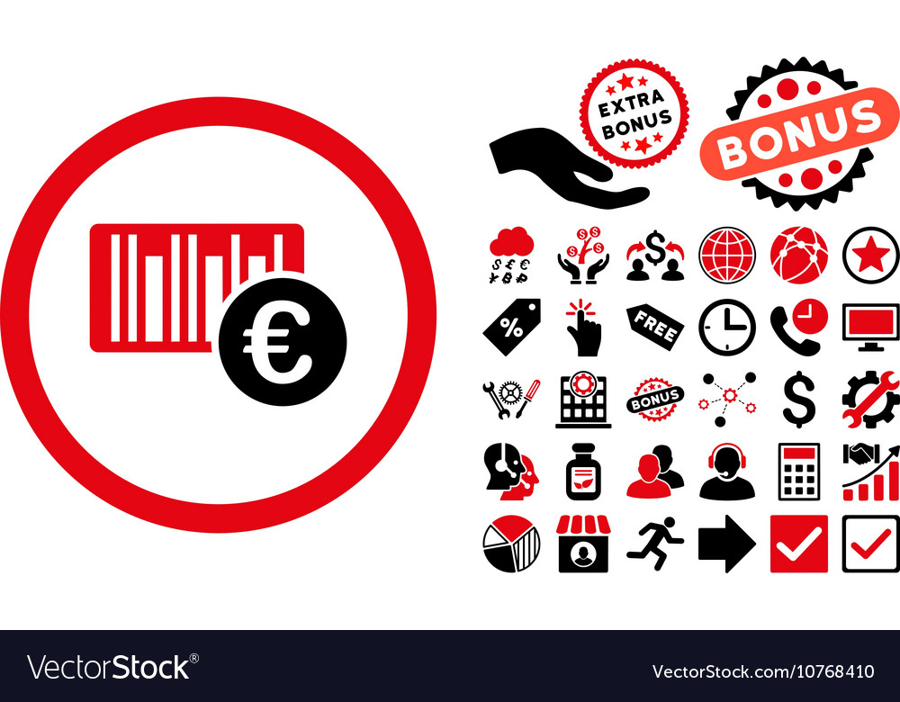 Euro Barcode Flat Icon with Bonus vector image