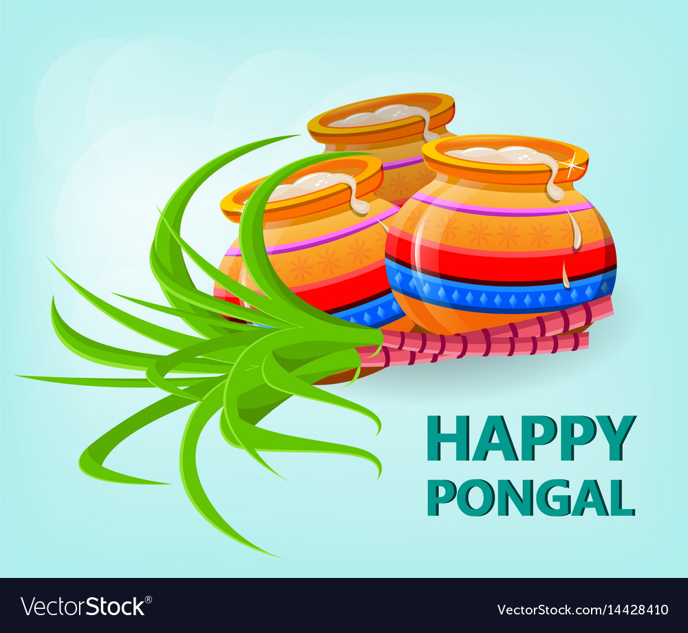 Happy pongal greeting card on gentle blue vector image m4hsunfo