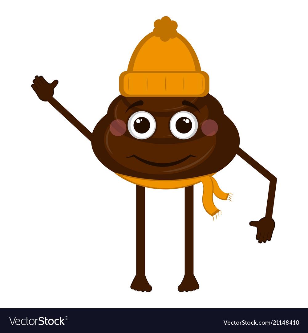 White Winter Scarf Smiling Poop Cartoon
