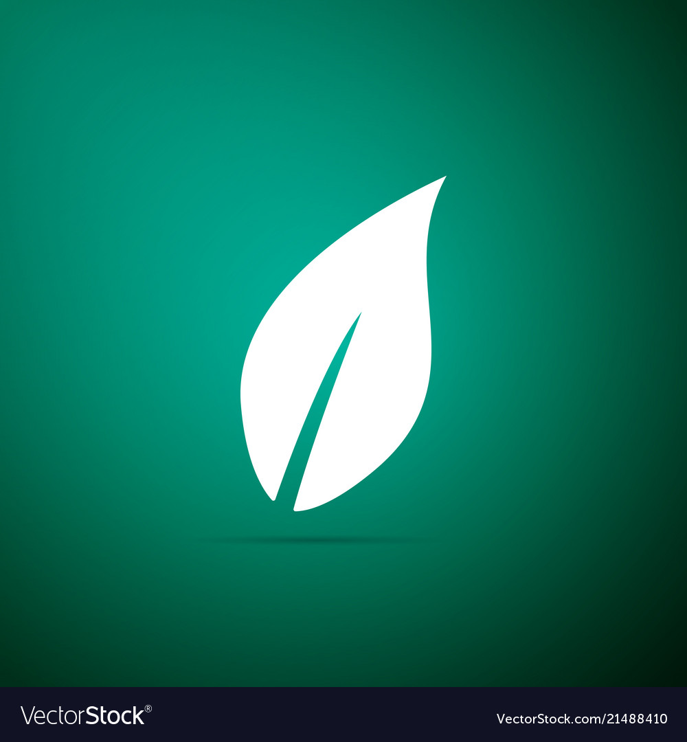 Leaf icon isolated on green background