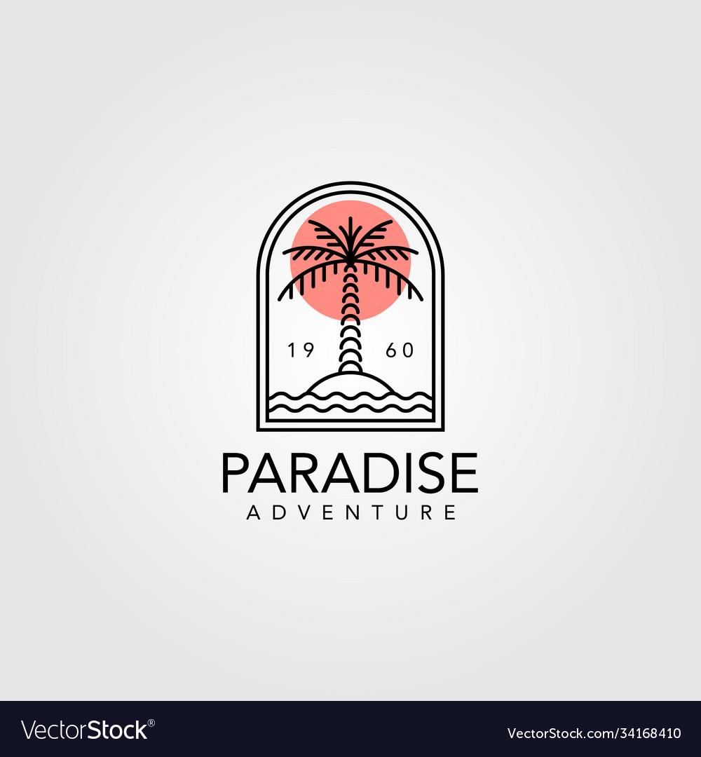 Palm tree vintage logo design line art tree