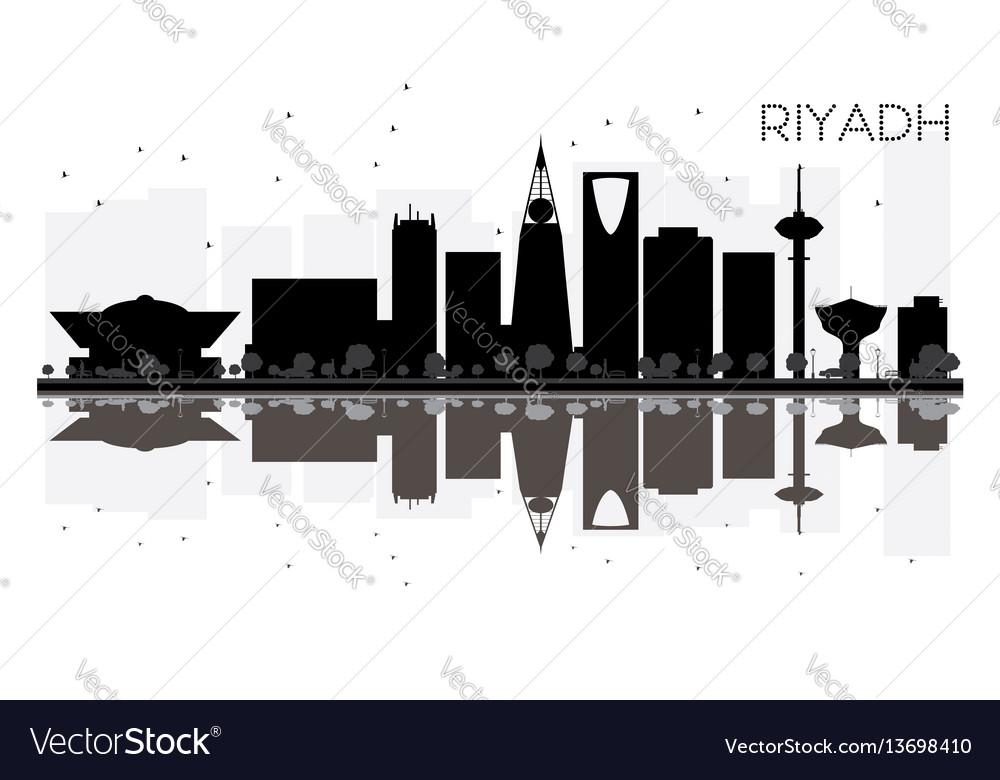 Riyadh city skyline black and white silhouette